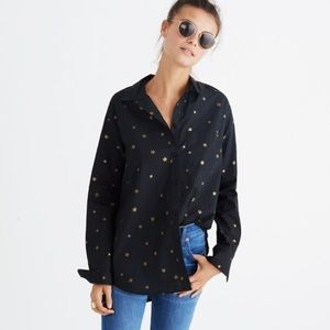 Madewell black button down with gold stars